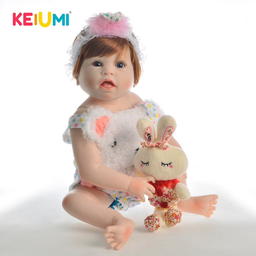 KEIUMI New Design 23 Reborn Dolls Full Silicone Open Month Reborn Baby Girl Adorable Vinyl Doll Boneca For kids Birthday GiftsKEIUMI New Design 23 Reborn Dolls Full Silicone Open Month Reborn Baby Girl Adorable Vinyl Doll Boneca For kids Birthday Gifts