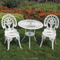 Литой алюминиевый садовый набор стол и 2 стула горячие продажи