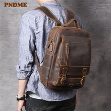 PNDME retro simple crazy horse leather mens backpacks high quality anti theft genuine travel laptop bagpack bookbags