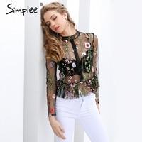 Simplee Black Flower Embroidery Blouse Shirt Women Tops Blouse Chemise Femme Camisa Transparent Long Sleeve Summer