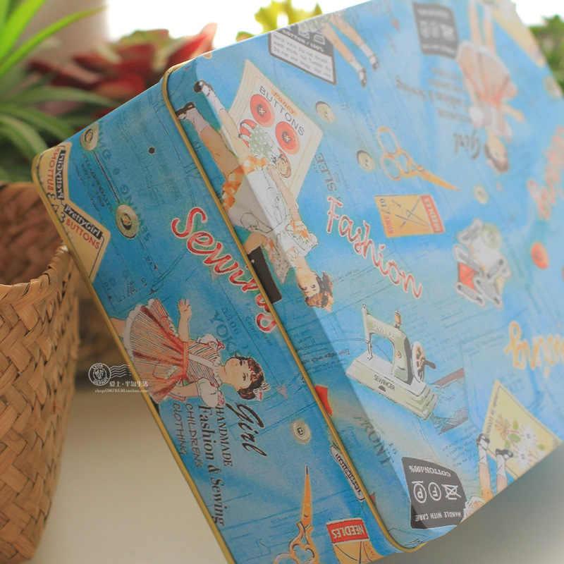Цветная квадратная жестяная винтажная игла для печенья настольные товары жестяные коробки для хранения 2 шт./лот