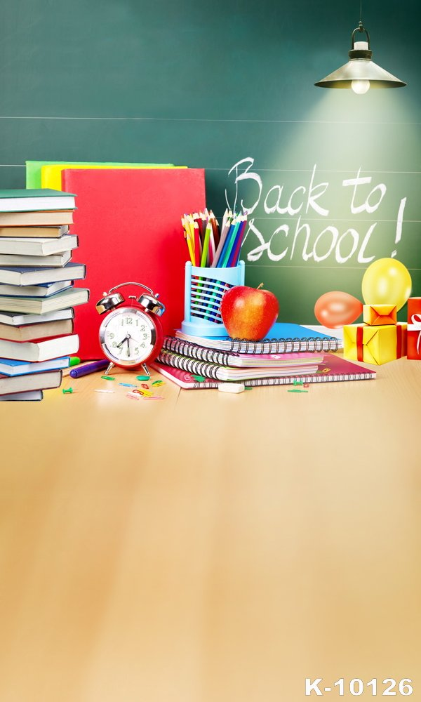 Back to School ! Book Props Backgrounds Vinyl Cloth Digital Art Fabric Profession Photographic Fashion Clock Backdrops For Photo back to school backgrounds deep green backdrops for photo studio baby photo thin art fabric backdrop d 3546