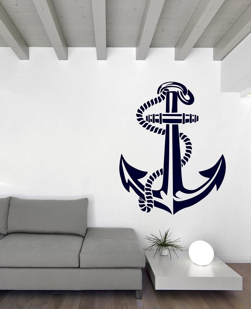 Морской якорь виниловая наклейка на стену морские энтузиасты домашняя ванная комната украшение дома художественная Наклейка на стену 1HH14-in Настенные наклейки from Дом и животные