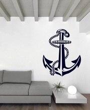 ملصق جداري بحري من الفينيل مُصمم على شكل مرساة بحرية لهواة بحرية ديكور داخلي للحمام والحمام والمنزل ملصق جداري فني 1HH14