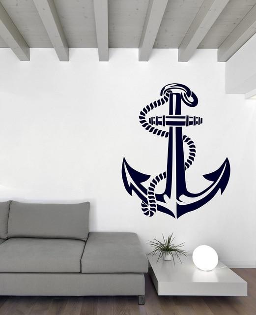 Nautical anchor vinyl wall sticker nautical enthusiasts indoor bathroom bathroom home decoration art wall decal 1HH14