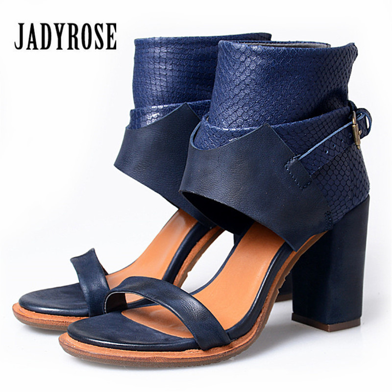 Jady Rose Blue Gladiator Sandals Chunky High Heel Shoes Woman Genuine Leather Sandalias Mujer Platform Women Pumps prova perfetto hollow out ladies gladiator sandals women platform pumps rivets chunky high heel shoes woman sandalias mujer