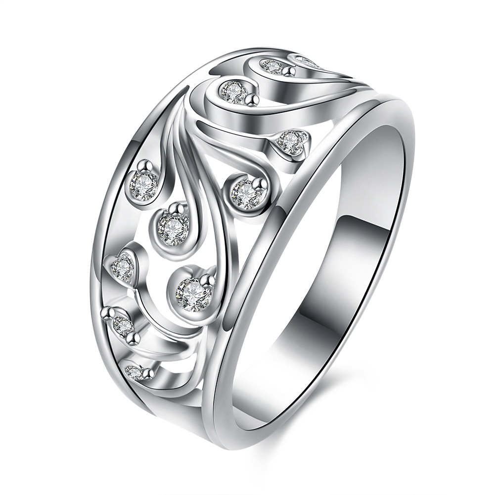 Inalis New Design Fashion Jewelry Luxury Women Engagement Ring Silver 5a  Zircon Wedding Rings Spcr882