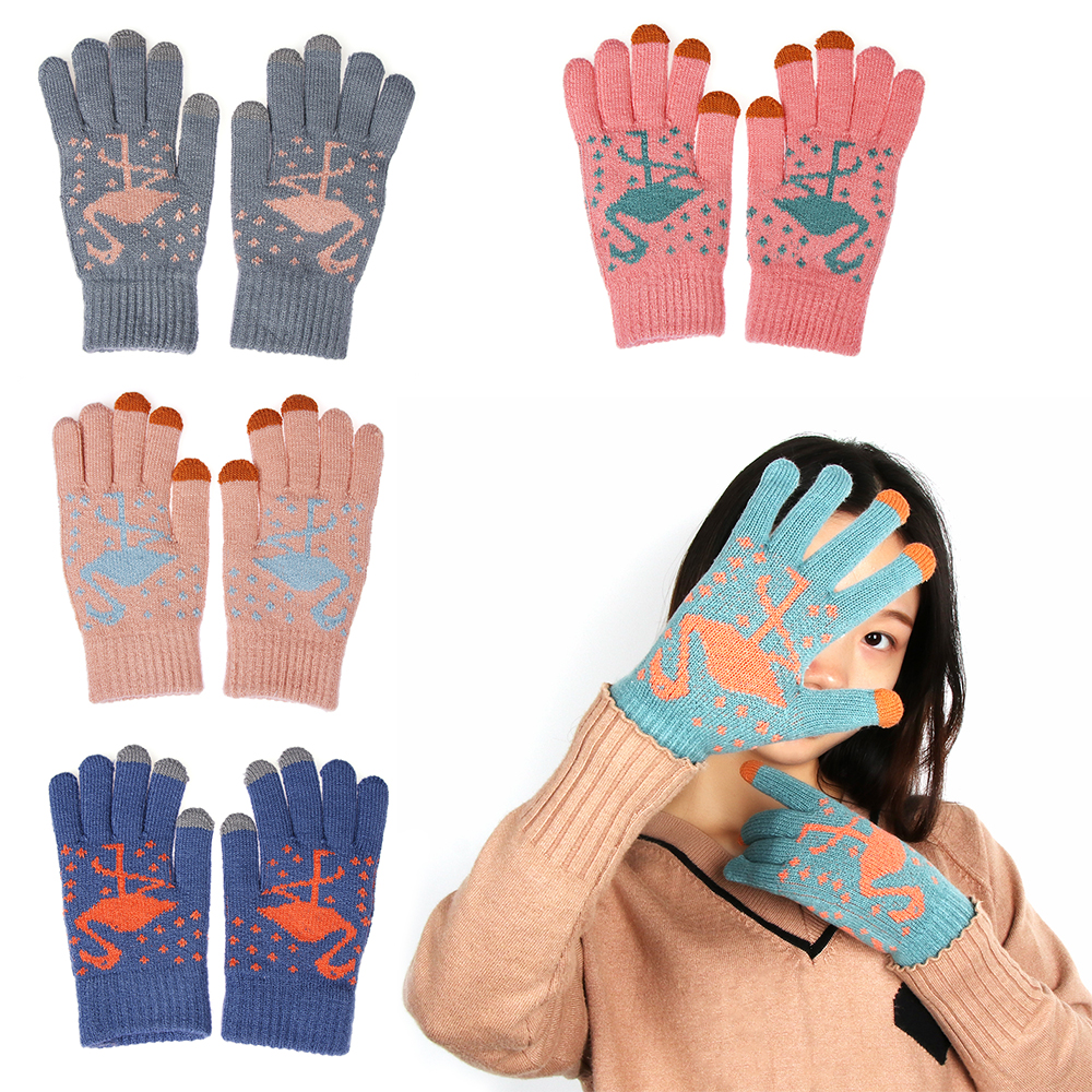 Honey Womens Winter Ourdoor Knitted Gloves Cute Flamingo Pattern For Phone Screen Warm Glove Lady Stretch Fashion Suede Fabric Gloves Let Our Commodities Go To The World Apparel Accessories