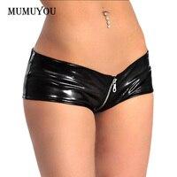 Women Latex Black Shorts Wet Look PVC Shiny Hot Pants Thong Full Zipper Low Waist Sexy