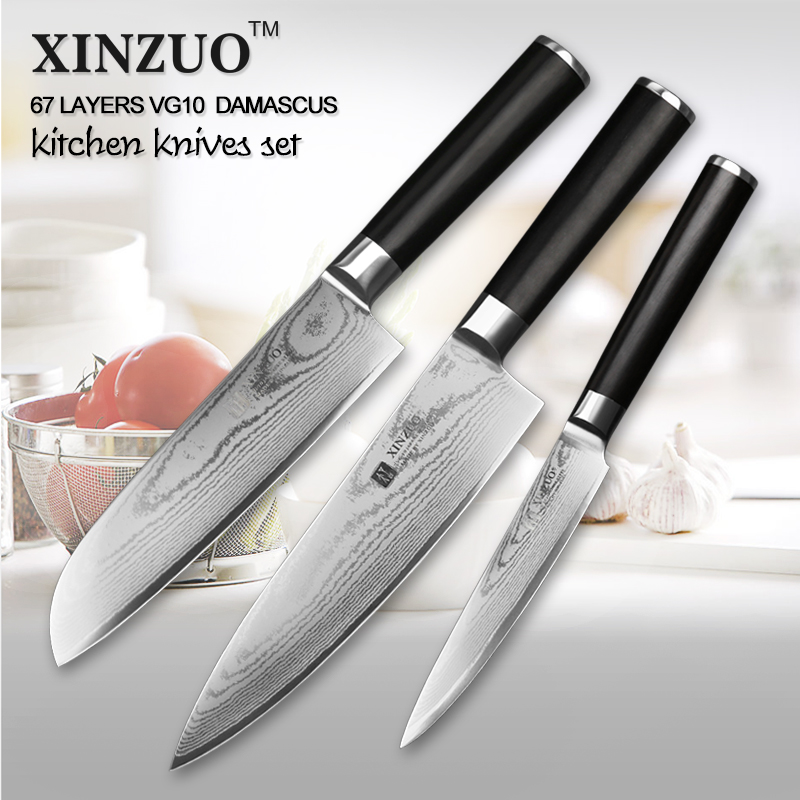 XINZUO 3 pcs kitchen font b knife b font set utility Damascus Chef font b knife