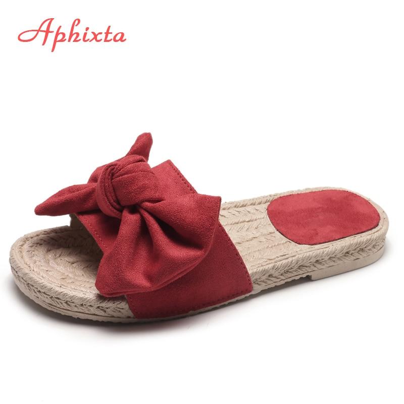 Zapatillas planas de verano de Aphixta para mujer Bordes apliques de - Zapatos de mujer