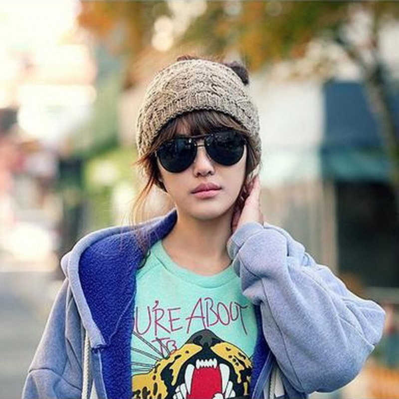 ce9a1074106 Warm Women Knitted Skullies Beanies Twisted Yarn Head Wrap Women s Winter  Empty Hat for women Hair