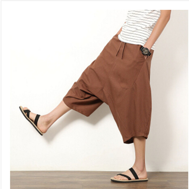 Summer Bloomers Male Loose Harem Pants Plus Size Casual Capris Male Loose Line Trousers Big Size M-5XL