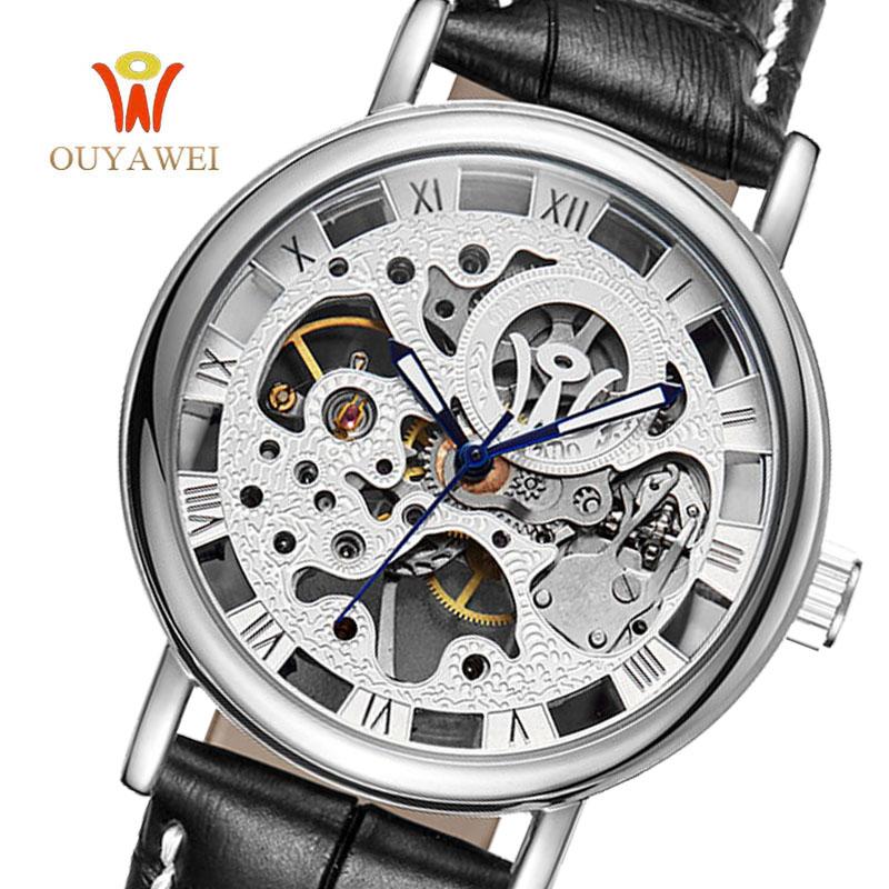 Prix pour 2017 ouyawei or squelette montre top marque luxurygold montre pour hommes en cuir mécanique montres reloj hombre