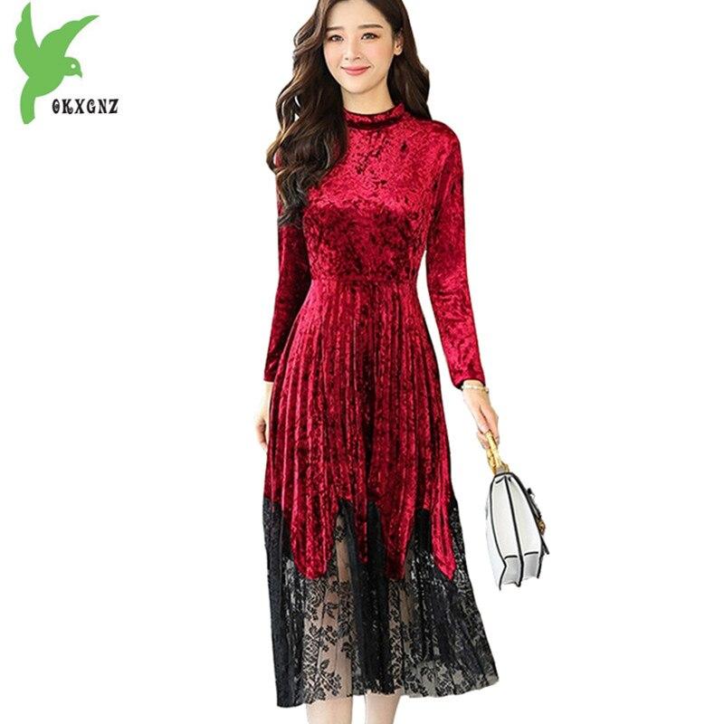 2018 nouveau printemps femmes or velours dentelle couture robe mode manches longues robe plissée grande taille grande balançoire robe OKXGNZ1636