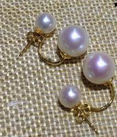 Selling Jewelry>>Double beads earrings Akoya sea pearls light stud gold earrings authentic