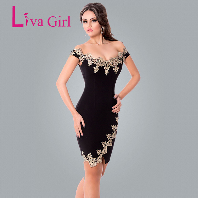 Liva Girl Sexy Party Bodycon Robes Gold Lace Applique Black Off Shoulder  Mini Dress Elegante Roupas 4f80a88c172f