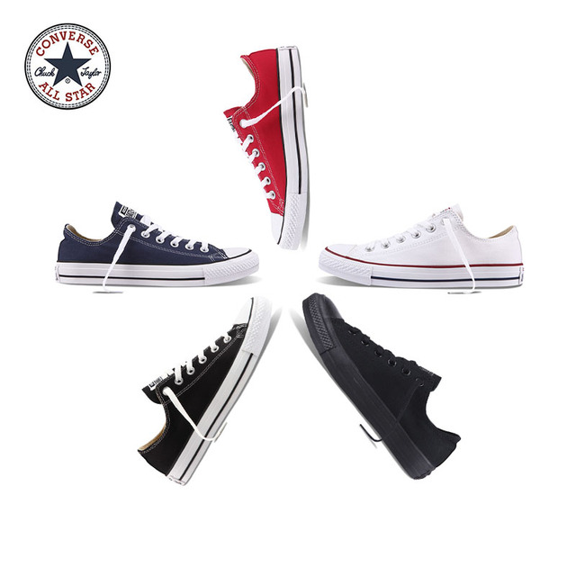 Authentic Converse ALL STAR Classic Breathable Canvas Low-Top Skateboarding Shoes Unisex Anti-Slippery Sneakers for Young Men