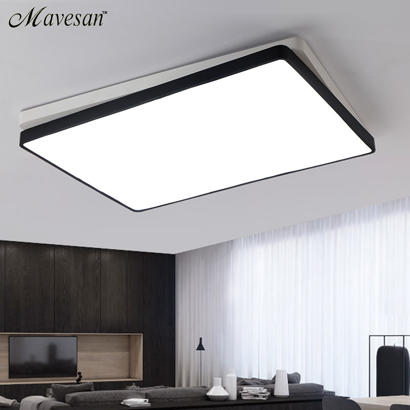 Melody square Modern Ceiling Lamp For Home Remote Control Dimming Living Room Bedroom luminaire Lustre noosion modern led ceiling lamp for bedroom room black and white color with crystal plafon techo iluminacion lustre de plafond
