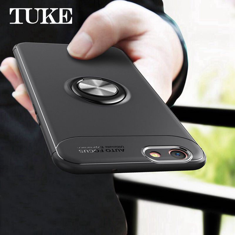 TUKE For OPPO A37 A57 A59 A77 F5 R9 R9S R11 R11S R15 Case Luxury Soft Silicon TPU Cover Case with 360 Rotation Metal Ring Holder image