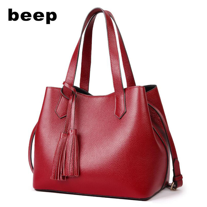 Beep 2018 New Superior cowhide fashion women Genuine Leather bag Simple women leather shoulder bag  women's bag beep beep go to sleep