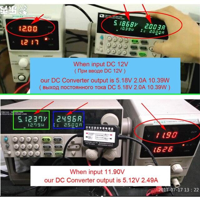 XCGaoon-convertisseur DC de voiture | Entrée de Module, sortie de 12V 24V, 5V 2.5A avec mini câble USB / Micro USB 3.1 mètres, Protection contre la basse tension
