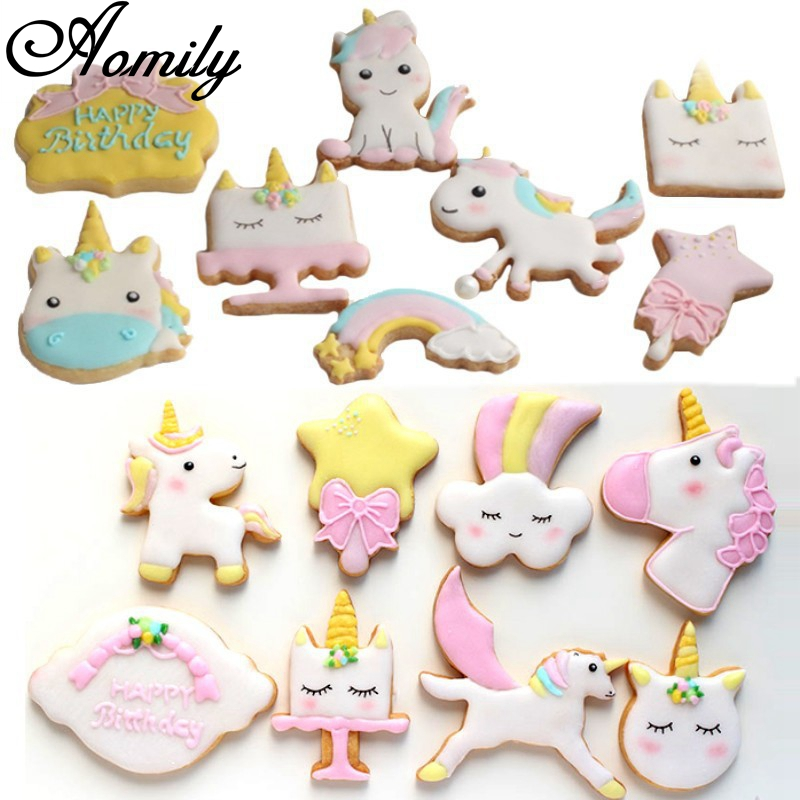 Us 2 02 27 Off Aomily 8pcs Set Unicorn Cartoon Cookies Cutter Chocolate Fondant Mould Birthday Baking Decorating Tools Christmas Kitchen Baking In