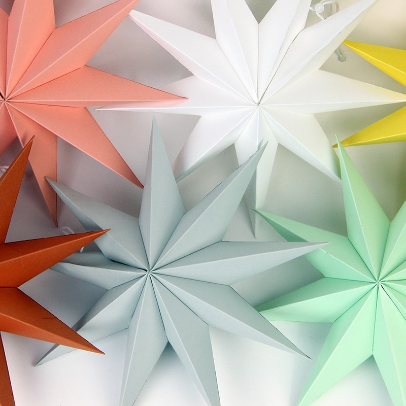 30cm Wedding Folded Paper Star Lanterns 3D Hanging Paper Stars Wedding Birthday Shower Evening Party Christmas Window Display