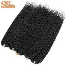 Silky Strands Crotchet Box Braids Hair Extensions Ombre Black Brown Burgundy Colors Kanekalon Braiding Hair Crochet Braids Bulk