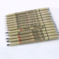 12 st pigment Micron Sakura Neelde Zachte Borstel Tekening Pen 005 01 02 03 04 05 08 Borstel fijne punt markers pen