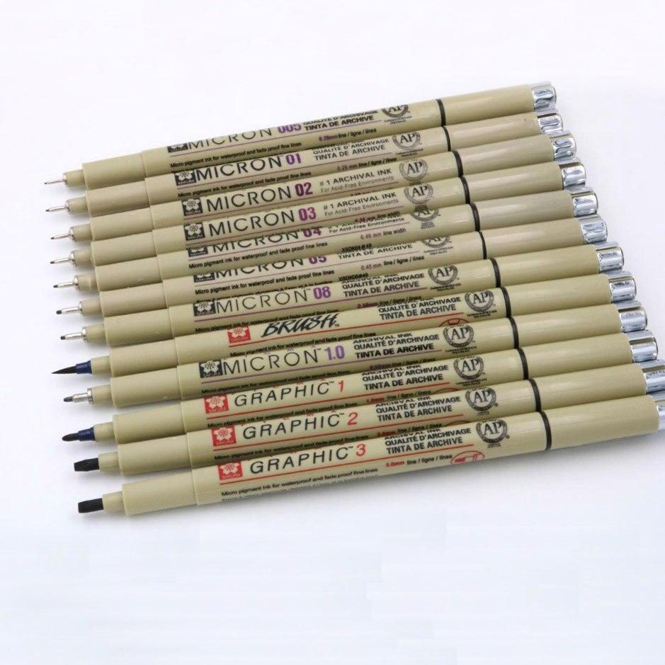 12pc pigment Mikron Sakura Neelde Weichen Pinsel Zeichnung Stift 005 01 02 03 04 05 08 Pinsel feine punkt marker stift