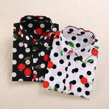 Kobiety bluzka moda na co dzień druku topy regularne Fit Plus rozmiar kobiety odzież druku wiśni długie rękawy bluzki kobiety ubrania