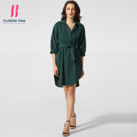 Women Shirt Dress Autumn Loose Fitting Solid Color Turn Down Collar BF Style Green Casual Slit