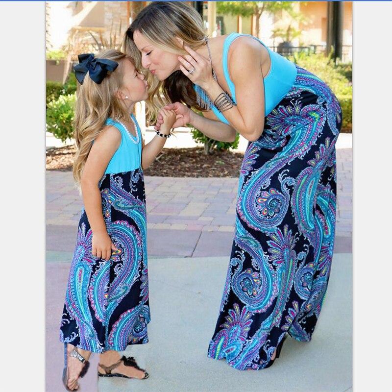 a5cbda8da الزهور أكمام الأم ابنة العائلة نظرة فتاة فساتين الصيف الخريف و الأم الأم  وأنا الملابس زائد الحجم فساتين طويلة