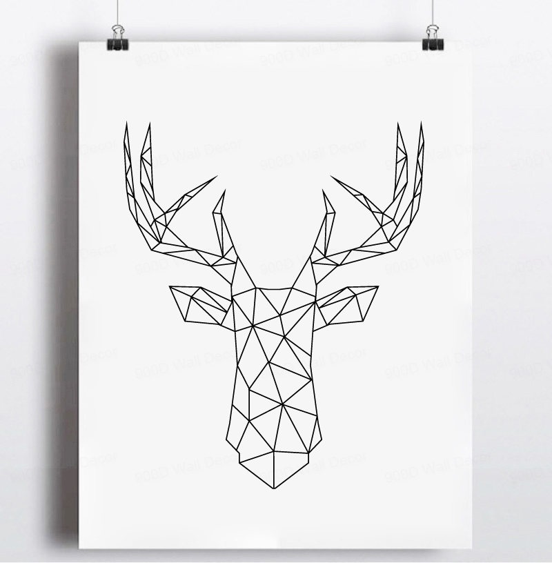 Buy Geometric Deer Head Canvas Art Print Poster Wall Pictures For Home