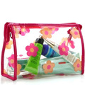 Ecofriendly little floral printing PVC material big capacity colorful beauty case