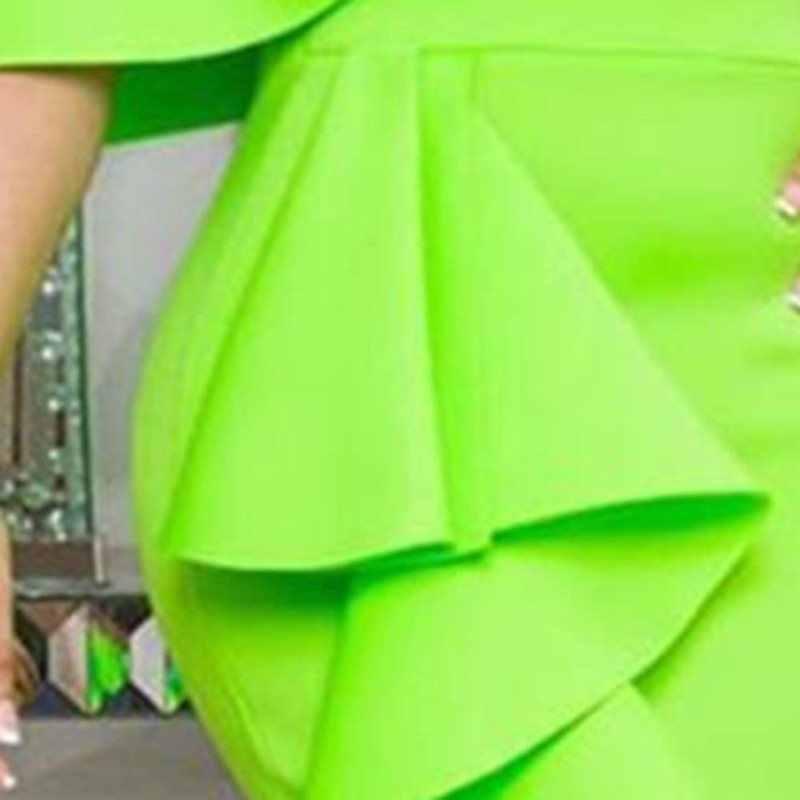 สีเขียวชุดผู้หญิง Ruffles เซ็กซี่ปิดไหล่ผู้หญิง MIDI ชุด 2019 หญิงแอฟริกันชุด