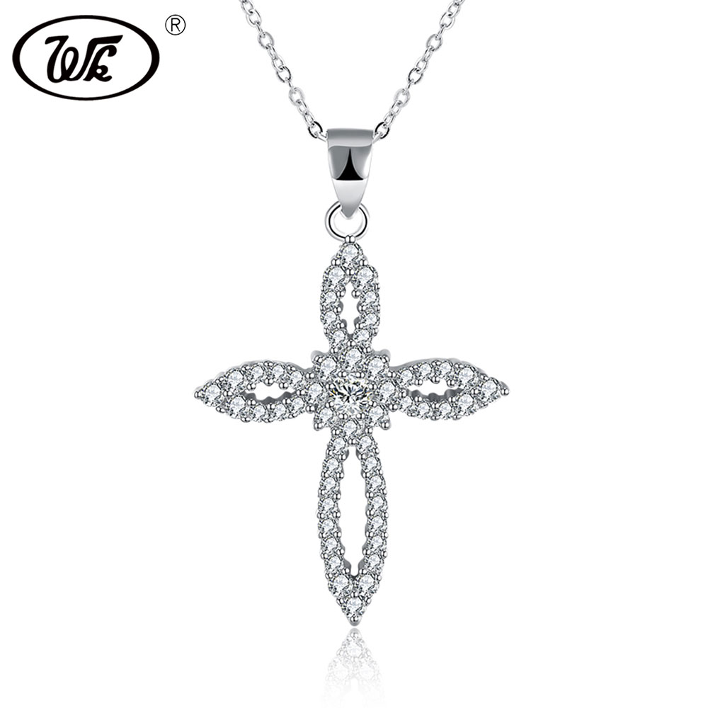 WK NEW Genuine 925 Sterling Silver Necklace Women Chain Flower Cross Necklace Silver Jewelry For Girls Trendy Gift W5 NNY21 jzn0007 top quality blue opal gem silver necklace new trendy necklace for women fine jewelry gorgeous unisex chain necklace