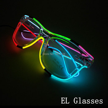 10 pcs Glowing polychrome EL Glasses Flashing LED Glasses Neon Light Masquerade Halloween Supplies For Bar Party Decoration