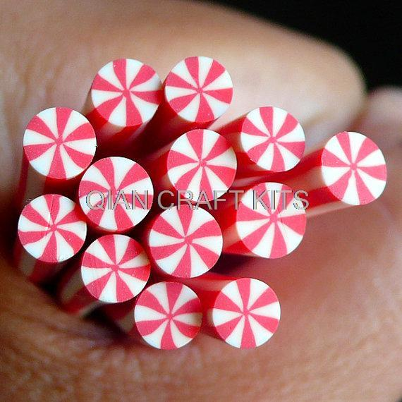 10pcs Peppermint Polymer Clay Cane Candy Fimo Cane Miniature Sweets Dollhouse Candy Kawaii Nail Art Nail Decoration