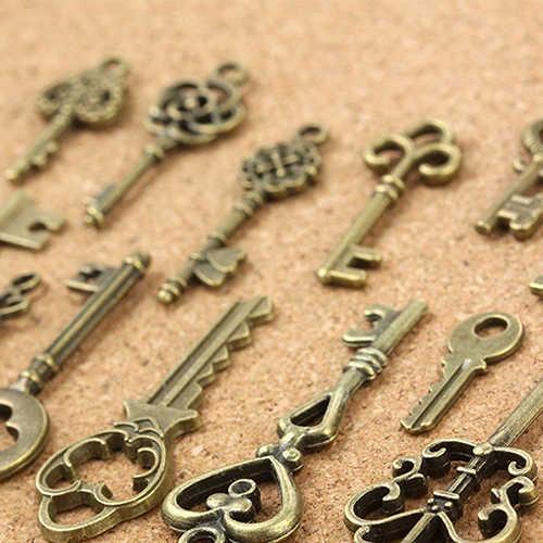 Diy 13 pçs antigo olhar bronze chaveiro pingente pingente de metal do vintage encantos decorações chaveiro remover antes do vôo