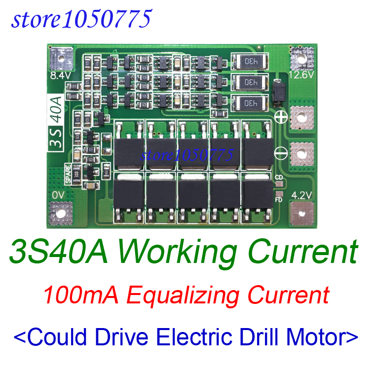3S40A Li-ion Lithium Battery Charger Protection BMS Board Drive Drill Motor 11.1V 12.6V Module  With Balance Equalized Charging