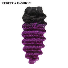 Rebecca Remy Human Hair Weave 1 bundle Brazilian Deep Wave 100g Ombre Colored For Salon Hair Extensions T1b/Purple(China)