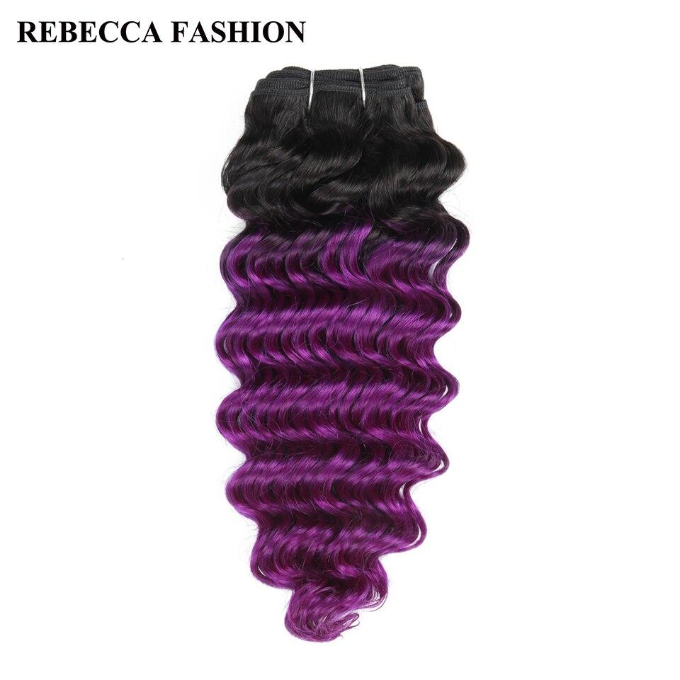 Haarsalon Versorgungskette FäHig Rebecca Remy Menschliches Haar Weben 1 Bündel Brasilianische Tiefe Welle 100g Ombre Farbige Für Salon Haar Extensions T1b/ Lila
