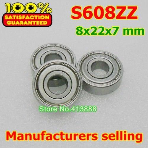10 шт./лот высокого качества ABEC-1 Z2V1 SUS440C из нержавеющей стали Глубокие шаровые подшипники S608ZZ 8*22*7 мм