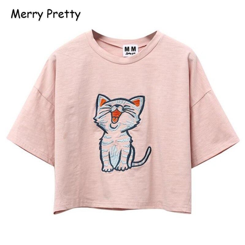 FROHE ZIEMLICH Cartoon Katze Stickerei Crop Tops Harajuku kawaii Kurzarm Oansatz Baumwolle T-shirt Sommer Tops Tees Für Frauen 2018