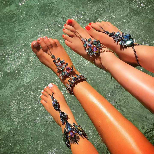 Jewelry Hot Sale Sexy Women Summer Anklets Bracelets Lady Party Gift Statement Crystal Anklets