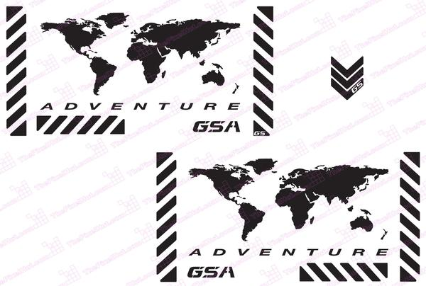 GSA Adventure Motorcycle Reflective Decal Kit World Adventure  for Touratech Panniers