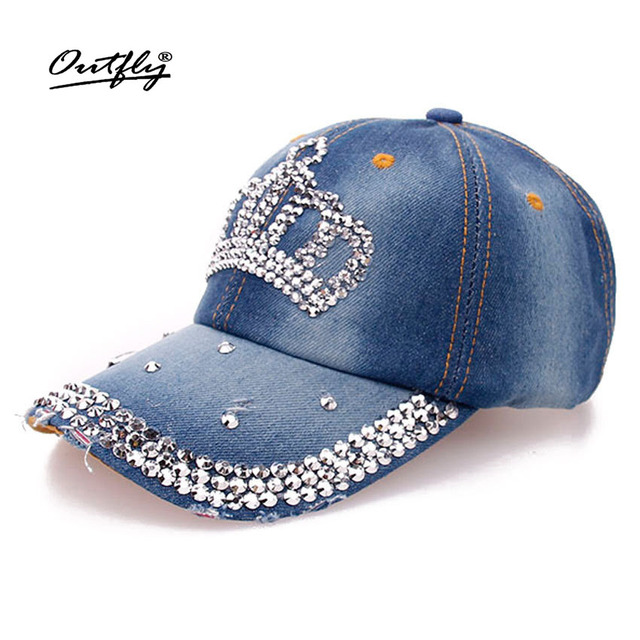 Crown Leisure jean Hat women Point drill pearl cowboy hat Denim snapback baseball  cap Rhinestone Female 2919a1905d4e
