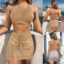 Women Knitted Beach Cover up Sexy 2 Piece Bodycon Crop Top and Skirt Bikini Set Lace Up Skirts Summer Beachwear apricot lace up design bodycon skirt
